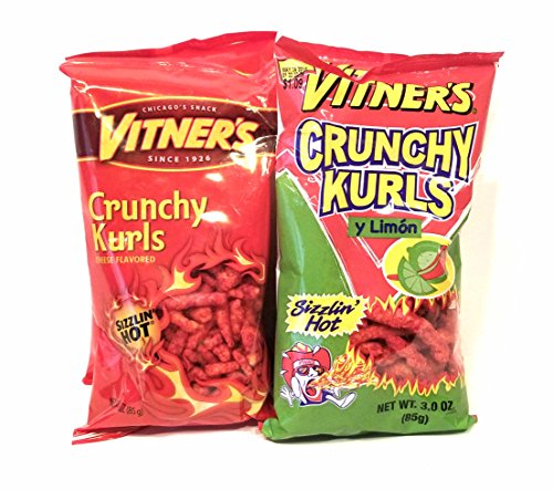 Vitner's 4 Pack 3 oz Bags 2 Sizzlin Hot Cheese Crunchy Curls & 2 Limon Flavored