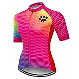 Weimostar - Maglia da ciclismo da donna in jersey con zip a maniche corte per mountain bik...