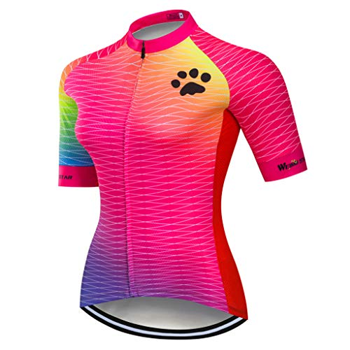 Weimostar Radtrikot Damen-Mountainbike-Jersey-Zip-Shirts Kurzarm Rennrad-Oberteile Pro-Team-Rennsport-MTB-Oberteile für Damen Damen Sommer Blau Rosa Größe XL