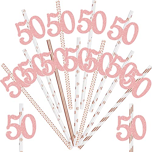 50 Cannucce Carta Compleanno con Numeri Ritagliati Cannucce di Compleanno Crema e Oro Rosa 7,7 Pollici Cannucce Carta da Bere per Compleanno Anniversario Feste Forniture (50 ° Compleanno)