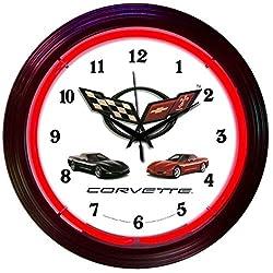 Corvette GM C5 Electric Neon 15 Inch Wall Clock Glass Face Chrome Finish Warranty