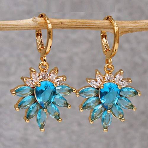 HoopsEarringsForWomen,Fashion Sky Blue Flower Zircon Long Pendant Hoop Earrings Hypoallergenic Lightweight Hoop Ring Circle Jewelry Earrings For Women Girls Party Wedding