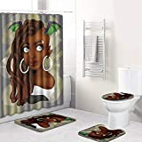 TOMSSL Black Beauty Pattern Duschvorhang Bodenmatte Badezimmer Toilettensitz Vierteiliger Teppich Wasseraufnahme Verblasst Nicht Vielseitig Komfortable Badezimmermatte Kann In Der Maschine Gewaschen W