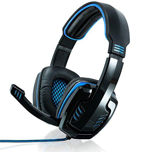 CSL - 7.1 USB Cascos para Juegos con Tarjeta de Sonido - Edición Gaming Plus USB - Almohadillas para los oídos de Cuero sintético Inserto de Malla - Regulador de Volumen - Negro Azul
