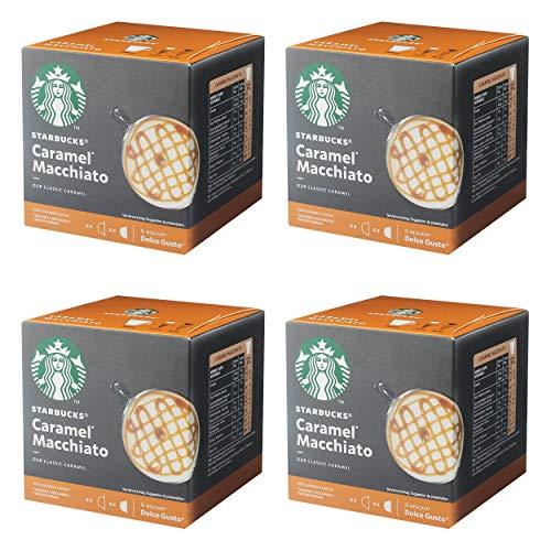 Nescafé Dolce Gusto Starbucks Caramel Macchiato 4er Set, Latte Macchiato mit Karamell, Kaffeekapsel, Röstkaffee, 4 x 12 Kapseln