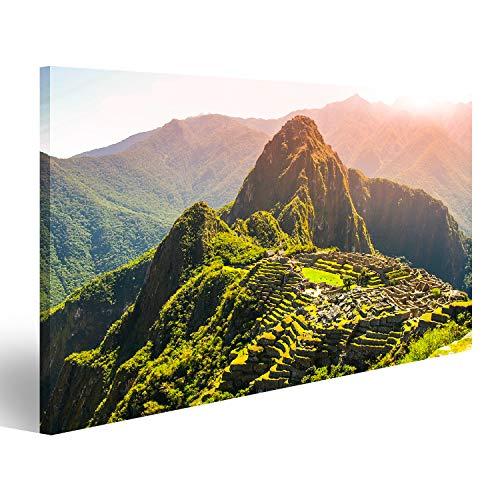 Cuadro Cuadros Antigua ciudad Inca de Machu Picchu iluminada por el sol. Ruinas de la ciudad perdida de los Incas en la selva peruana. Patrimonio de la Humanidad de la UNESCO, Perú, Sudaméri