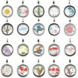 10pcs Mixed Stainless Steel Tone Round Shape Dried Pressed Flower Pendant Flower Plant Charm Floating Pendant Necklace Making Supplies