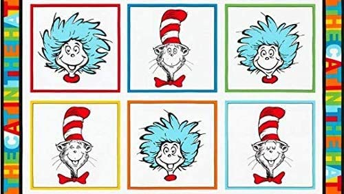 """Cat in the Hat Fabric Panel (24""""x44"""") from Dr Seuss Enterprises Collection (24"""" x 44"""" Fabric Panel)"""