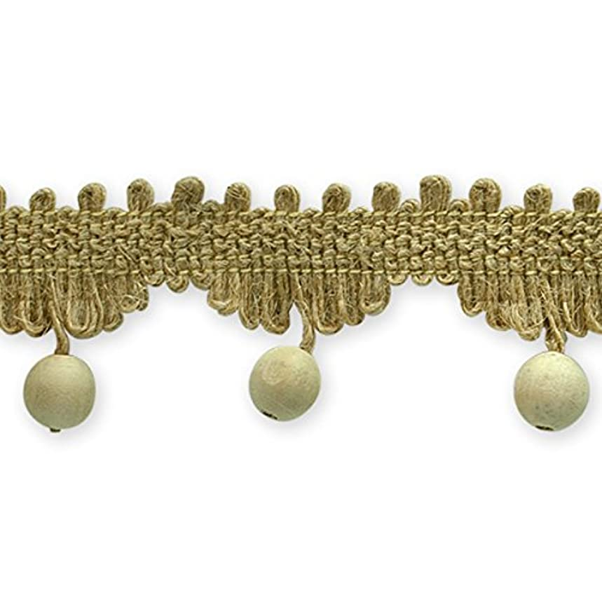 Expo International Woven Braid Trim with Wooden Beads, 20-Yard, Atley Natural