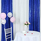 TRLYC 2FT by 8FT Fathers'Day Royal Blue Sequin Curtain Backdrop for Christmas Wedding Party