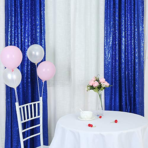 Trlyc Sequin Curtains Backdrops Glitter Royal Blue Backdrop 2 Panels 2FTx8FT
