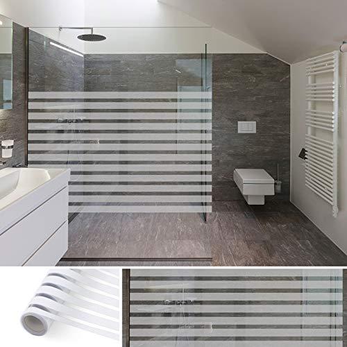 KINLO Fensterfolie selbsthaftend Blickdicht Klebefolie 90 * 200cm Milchglasfolie Sichtschutzfolie ohne Klebstoff Streifen Folie Büro und Zuhause Dekofolie