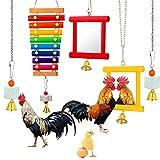 5 Pieces Hen Chicken Toys Chicken Coop Mirrors Colorful Wooden Xylophone Bird Toy Hanging Parrot Grindstone Bird Beak Stones Dangling Bird Toys with Bells for Chicks Parrots Birds Hens