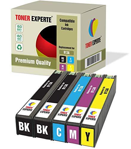Pack de 5 XL TONER EXPERTE® Compatibles con HP 913A Cartuchos de Tinta para HP PageWide Pro 477dw, 452dw, 377dw, 352dw, 452dwt, 477dwt, P55250dw, P57750dw (2 Negro, Cian, Magenta, Negro)