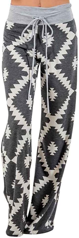 HUOJING Wide Leg Max 81% OFF Pants for Women Casual Print Complete Free Shipping Geometric St Loose