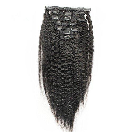Promociones! De 30 pulgada-de 71 pulgada 100% la virgen de la India de para el hombre de pelo de negra de extensión de pervertido líneas rectas y diseño con dibujo de diseño con motivos geométricos para el cabello en negro y mujeres, sin procesar 6 A de grado de 7 piezas/conjunto de cinta y de color Natural