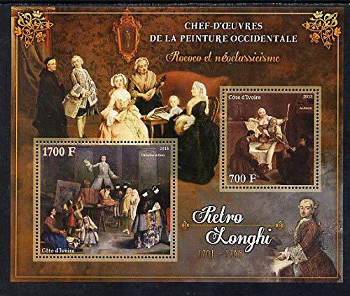 Ivory Coast 2013 Art Masterpieces from the Western World - Rococo & Neoclassicism - Pietro Longhi perf sheetlet 2 values u/m ARTS JandRStamps
