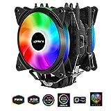 Novonest サイズオリジナル設計 120mm デュアルサイドフロー型CPUクーラー AURA Sync対応 ARGBファンを搭載した 静音 [Intel/AMD両対応]【AC12RGB】