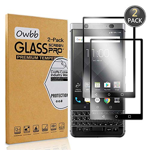 Owbb [2 Stück] Schwarz Gehärtetes Glas Bildschirm schutzfolie Für BlackBerry Keyone Full Coverage Schutz 99prozent High Transparent Explosionsgeschützter Film