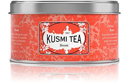 Kusmi Tea – Tee Boost – Aromatisierte Mischung aus Mate, Grüntee und Gewürzen – Zimt, Kardamom und Ingwer – Belebende Mischung – Dose mit 125 g