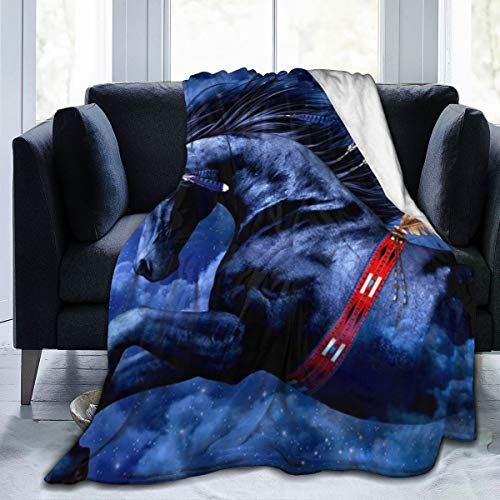 BODY Manta de Forro Polar con diseño de Caballo Indio Negro, Manta ultrasuave Decorativa, Suave, cálida, acogedora, Manta de Felpa, Manta de Cama Duradera para niños y Adultos, Negro, 50