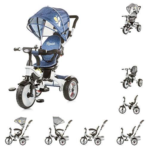 Chipolino Tricycle Rapido Dreirad 5 in 1, drehbarem Sitz, Schiebegriff, Dach blau