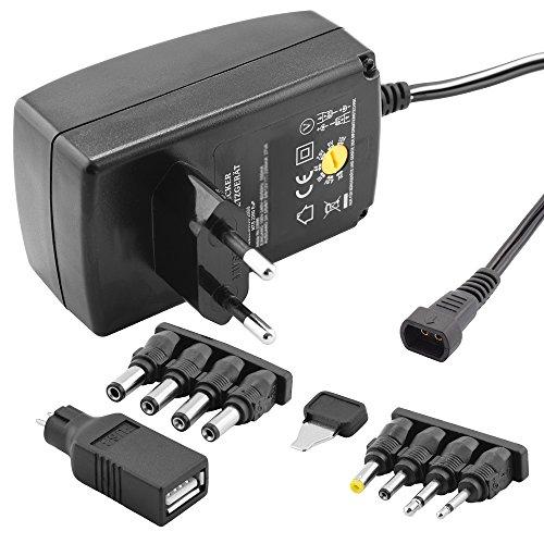 Stabilisiertes Universal Netzteil Ladegerät mit verschiedenen Adaptern für Geräte bis zu 1500mA, Eingang 230V, Ausgang 3 4,5 6 7,5 9 12 V DC, Schwarz
