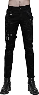 Punk Rave Men's Black Gothic Steampunk Casual Personality Vintage Pants