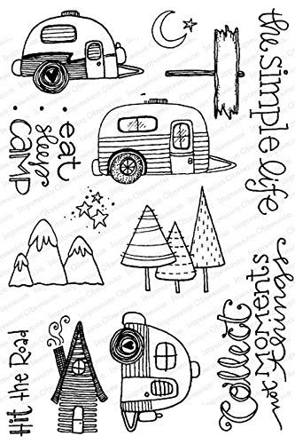 Impression Obsession CL957 Simple Life Camping Clear Stamp Set