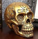 Ebros Gift Egyptian Gods and Kings Golden Nefertiti King TUT Ankh Skull Figurine 6.25' L Skeleton Cranium Gothic Macabre Skulls Deities of Egypt Pharaoh Dynasty Decor