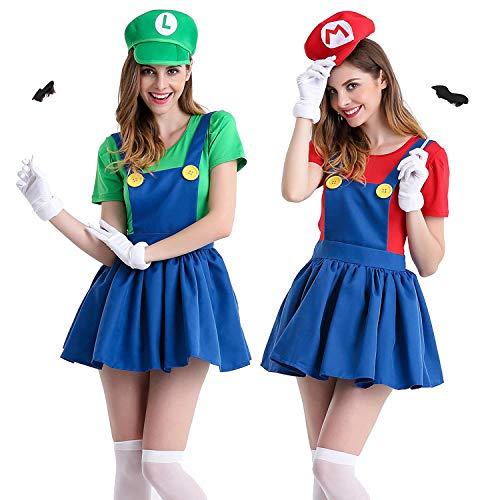 KHDFYER Erotische Dessous Damen Halloween Super Mario Bros.Costume Erwachsene Frauen Anime Cosplay Super Mario Kostüm Disfraces Adultos Karneval Kostüm-Red_XXL
