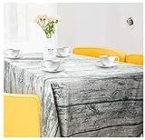 ZWOOS Mantel Mesa Rectangular, 100 x 140cm Mantel Rectangular Vintage de Madera de Grano de Lino Mantel Encerado Lavable Mantel Antimanchas Mantel a Prueba de Polvo para Interiores y Exteriores