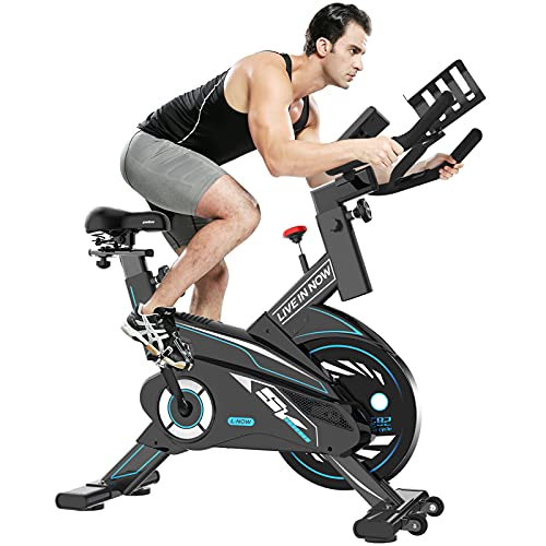 pooboo Exercise Bike, Indoor Cycling Bike Stationary Belt Drive with Tablet Holder and LCD Monitor for Home Cardio Workout