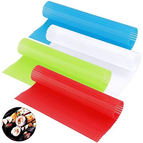 Lot de 4 tapis à rouler pour sushis en plastique, kit de fabrication de sushis antiadhésif, 20,3 x 22,9 cm, plateau à sushis japonais, tapis en plastique, ustensiles de cuisine réutilisables