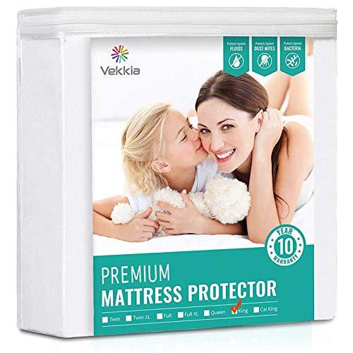 Vekkia King Size Premium Breathable Waterproof Mattress Protector - Machine Washable