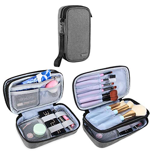 """Teamoy Travel Makeup Brush Bag(up to 8.5""""), Professional Cosmetic Artist Organizer Case with Handle Strap for Makeup Brushes and Beauty Supplies-Small, Gray (No Accessories Included)"""