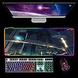 Alfombrilla De Ratón Profesional RGB para Juegos para Tu Nombre,14 Modos De Iluminación Teclado Grande para Ordenador Portátil,Alfombrilla De Ratón Led Brillante B 1000X500Mm