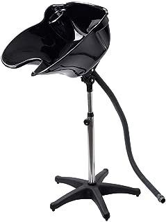 Giantex Shampoo Hair Wash Basin Bowl Portable Salon Deep Basin Adjustable Height Shampoo Sink with Drain, Black