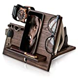 TESLYAR Wood Phone Docking Station Ash Hooks Key Holder Wallet Stand Watch Organizer Men Gift Husband Wife Anniversary Dad Birthday Nightstand Purse Tablet Father Graduation Male