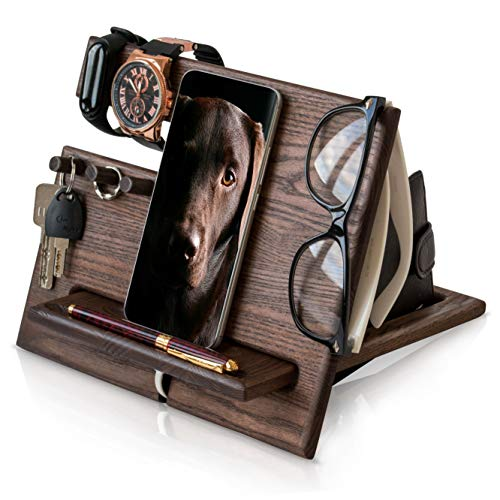 TESLYAR Wood Phone Docking Station Ash Hooks Key Holder Wallet Stand Watch...