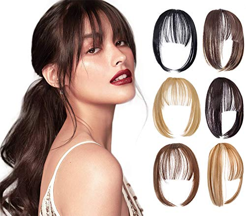 XBwig Clip in Bangs Fringe Hairpieces Hair Extensions One Piece Straight Cute Layered Front Neat Air Bang with Temples (Medium Brown)