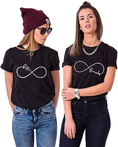 Best Friends BFF Beste Freunde T-Shirt für Zwei Mädchen Damen Tshirt (SCHWARZ Best XS)