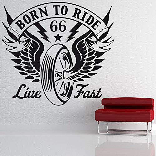 Nacido para correr, pegatina de pared, cita de motocicleta, alas, neumático, Mural creativo, puerta, ventana, pegatinas de vinilo para adolescentes, dormitorio, decoración de garaje-negro_57x61 cm