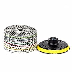 JOYOOO almohadilla de pulido de diamante, M10 14 Piezas 4 pulgadas de pulid seco y húmedo, utilizado para granito, mármol, hormigón, y otra superficie plana o convexa, pulido cóncavo