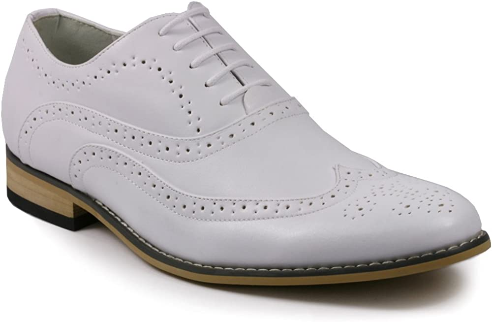 Metrocharm MC102 Men's Wing Tip Perforated Lace Up Oxford Dress Shoes