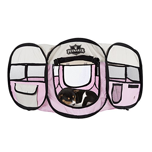 Petmaker Portable Pop Up Pet Play Pen with carrying bag 33in diameter x 15.5in Pink