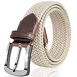 Fairwin Elastic Braided Belt, 1.3'' Wide Stretch Belt, 2020 New Buckle Fabric Woven Men/Women Novelty Belt (M: Waist 32'-35'(81-90cm), Beige)