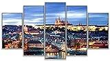 SBZJJ Pinturas de Lienzo modulares 5 Piezas con Vistas a Praga imágenes de paisajes Arte de la Pared Cartel del Castillo decoración del hogar-XL