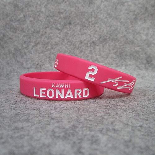 XiXi Nº 2 Clippers Baloncesto Leonard Estrella Cruzar una pequeña Etiqueta con su Nombre Tarjeta Deportiva Pulsera Pulsera de Silicona Luminosa (Color : Red, Size : 19CM)