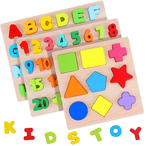 AiTuiTui Alphabet Puzzle Board Numbers Shapes 3 Sets Wooden Blocks for Toddlers Colorful ABC Wooden Letters 120 Numbers Shapes Early Learning Toys for Kids Age 2 3 4